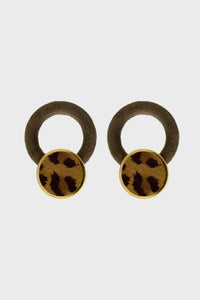 Khaki hoop and camel leopard print circle earrings1