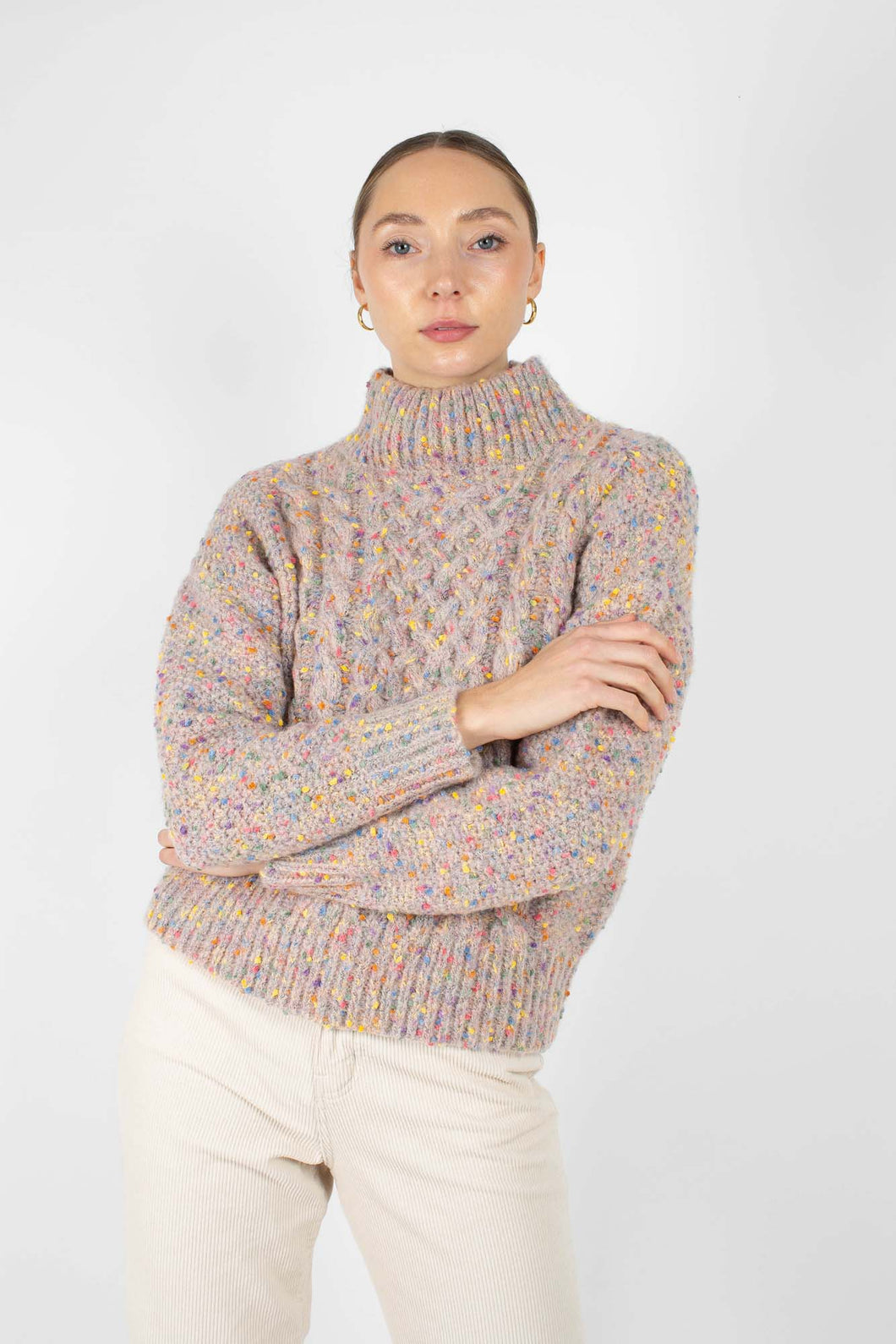 Beige rainbow fleck mock neck jumper1sx