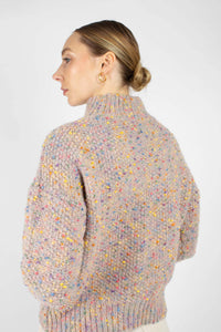 Beige rainbow fleck mock neck jumper2
