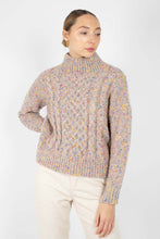 Load image into Gallery viewer, Beige rainbow fleck mock neck jumper3