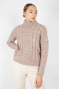 Beige rainbow fleck mock neck jumper3
