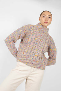 Beige rainbow fleck mock neck jumper4