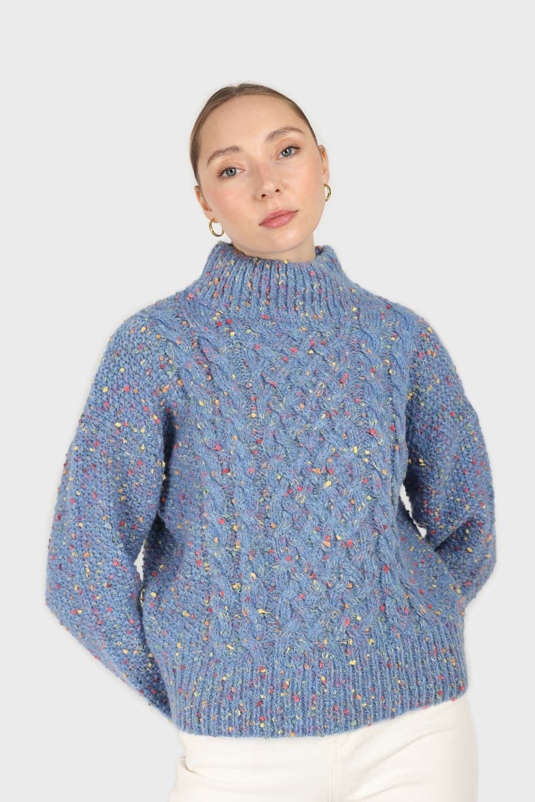Blue rainbow fleck mock neck jumper1sx