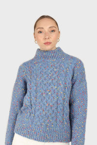 Blue rainbow fleck mock neck jumper2