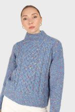 Load image into Gallery viewer, Blue rainbow fleck mock neck jumper3