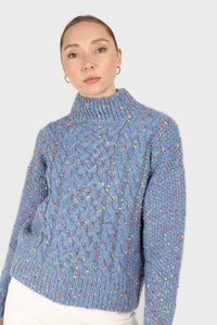 Blue rainbow fleck mock neck jumper3