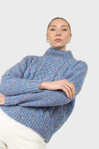 Blue rainbow fleck mock neck jumper4