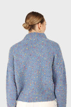 Load image into Gallery viewer, Blue rainbow fleck mock neck jumper5