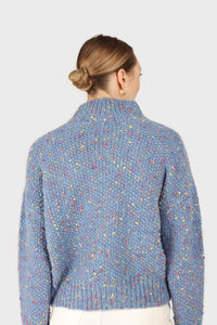 Blue rainbow fleck mock neck jumper5