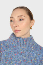 Load image into Gallery viewer, Blue rainbow fleck mock neck jumper6