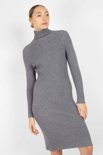 Grey turtleneck thick rib knit midi dress1sx