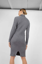 Load image into Gallery viewer, Grey turtleneck thick rib knit midi dress6
