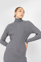 Load image into Gallery viewer, Grey turtleneck thick rib knit midi dress2