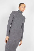 Load image into Gallery viewer, Grey turtleneck thick rib knit midi dress3