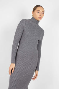 Grey turtleneck thick rib knit midi dress3