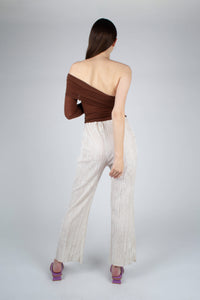 22042_Ivory brushed velvet flare trousers_MFBBA1