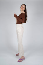 Load image into Gallery viewer, 22042_Ivory brushed velvet flare trousers_MFSBA2
