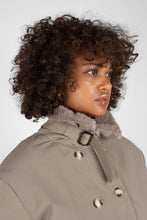 Load image into Gallery viewer, Khaki fur cuff and collar parka coat5