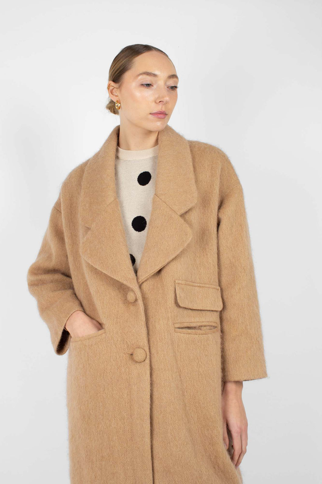 Camel single breasted oversized slit pocket coat1sx