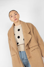 Load image into Gallery viewer, Camel single breasted oversized slit pocket coat2