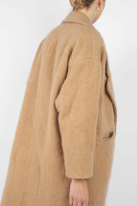 Camel single breasted oversized slit pocket coat3
