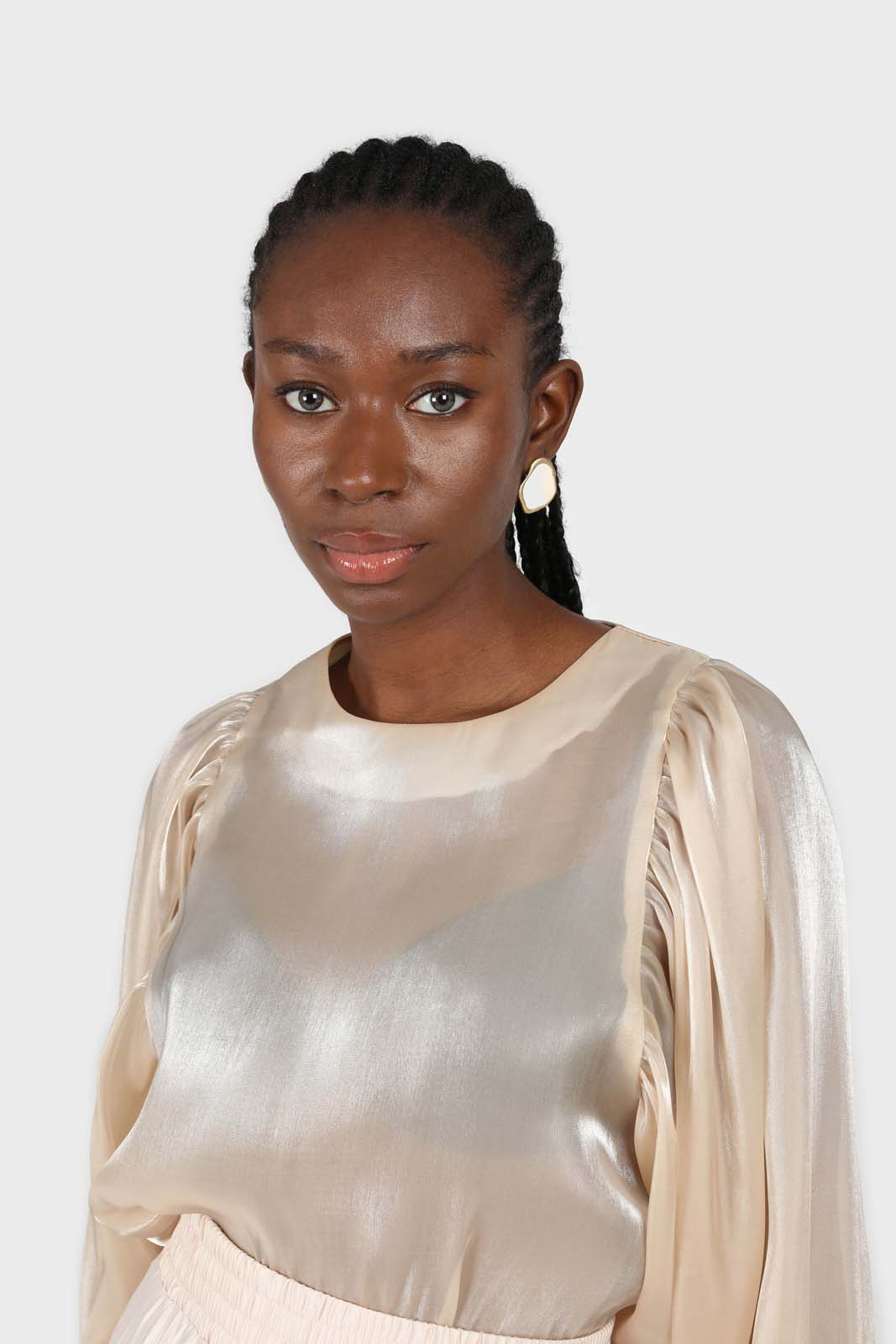 Champagne metallic balloon sleeve silky top