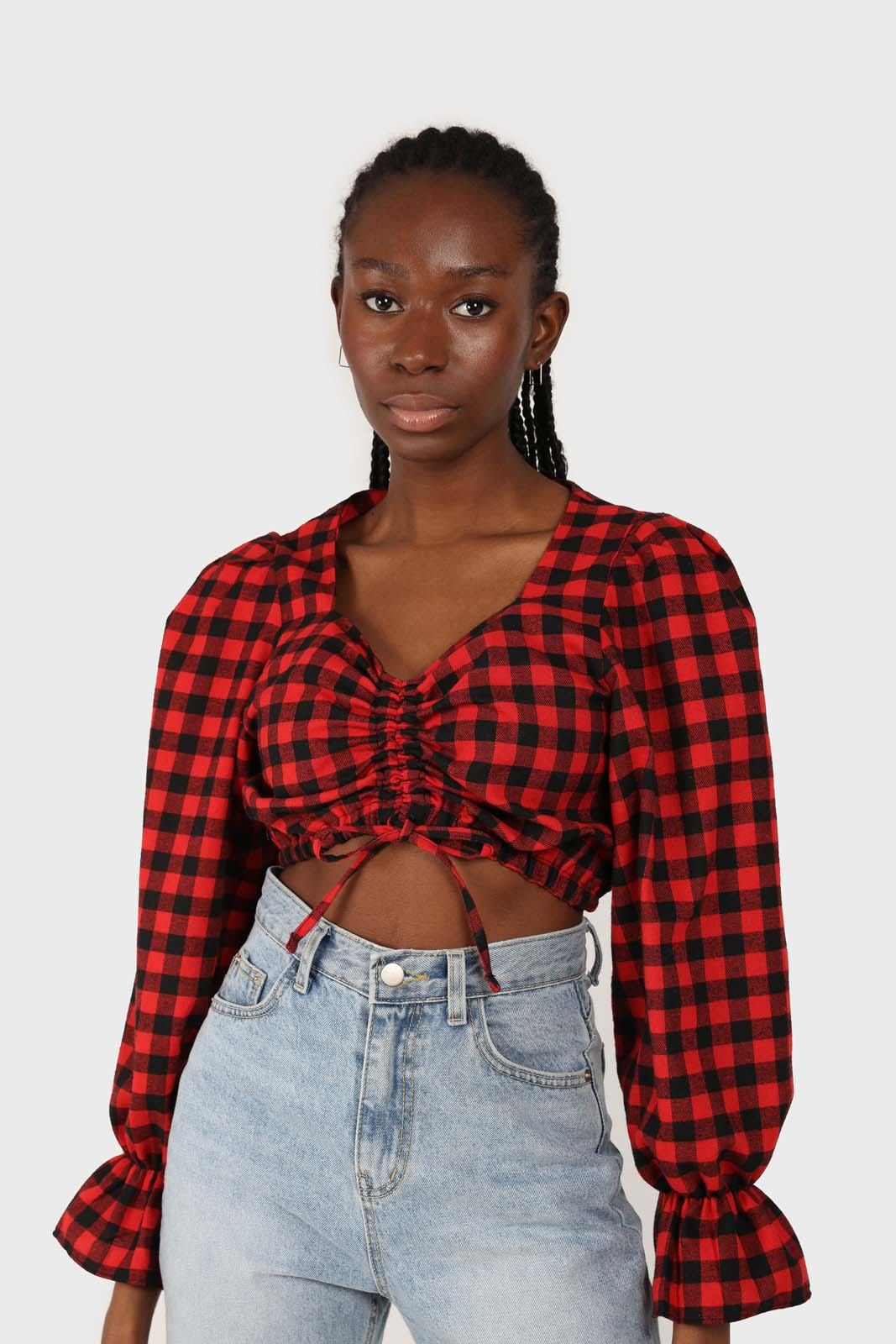 Red and black checked pull string long sleeved top 1