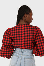 Load image into Gallery viewer, Red and black checked pull string long sleeved top 15