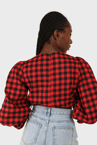 Red and black checked pull string long sleeved top 15