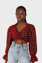 Load image into Gallery viewer, Red and black checked pull string long sleeved top 1