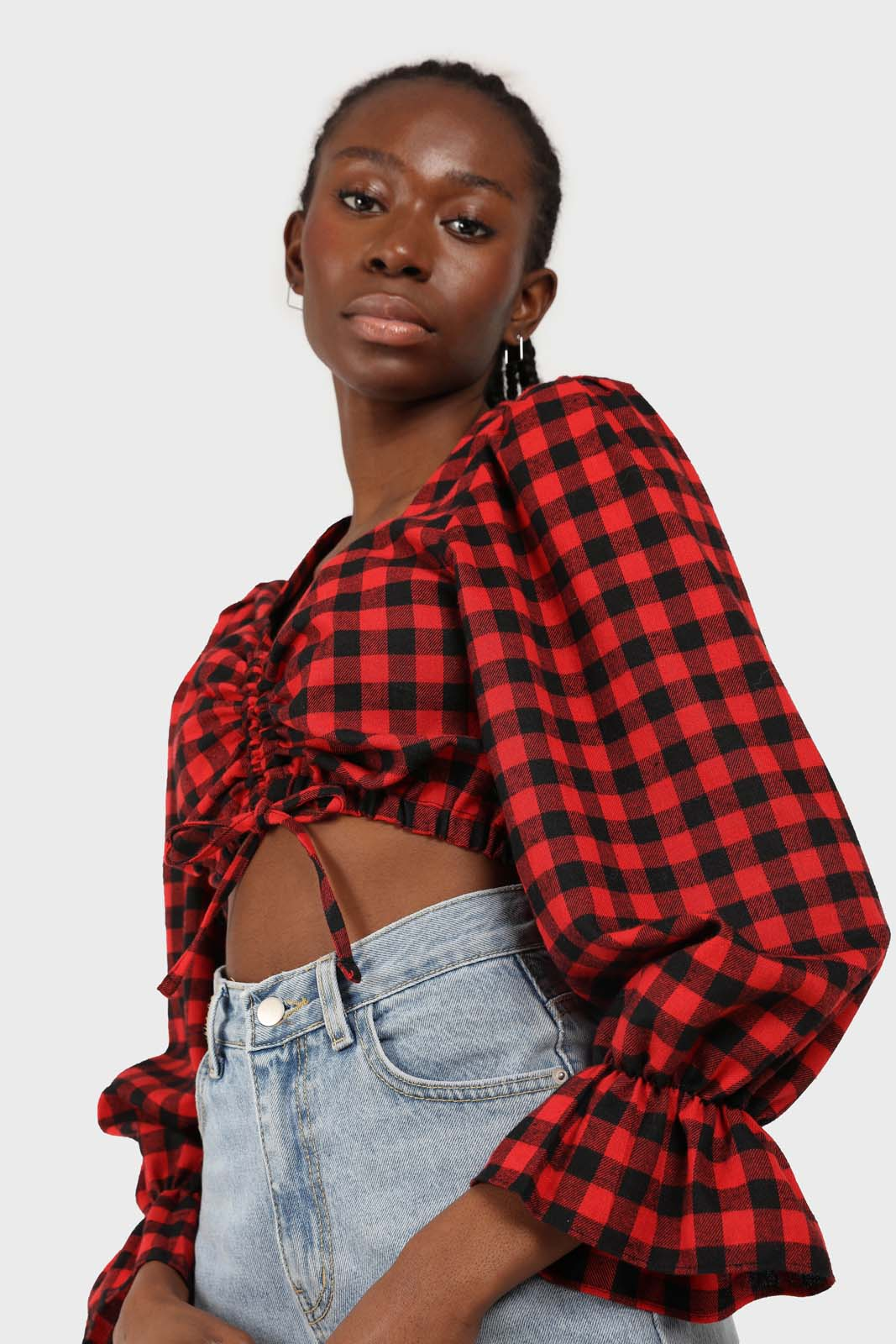 Red and black checked pull string long sleeved top 3