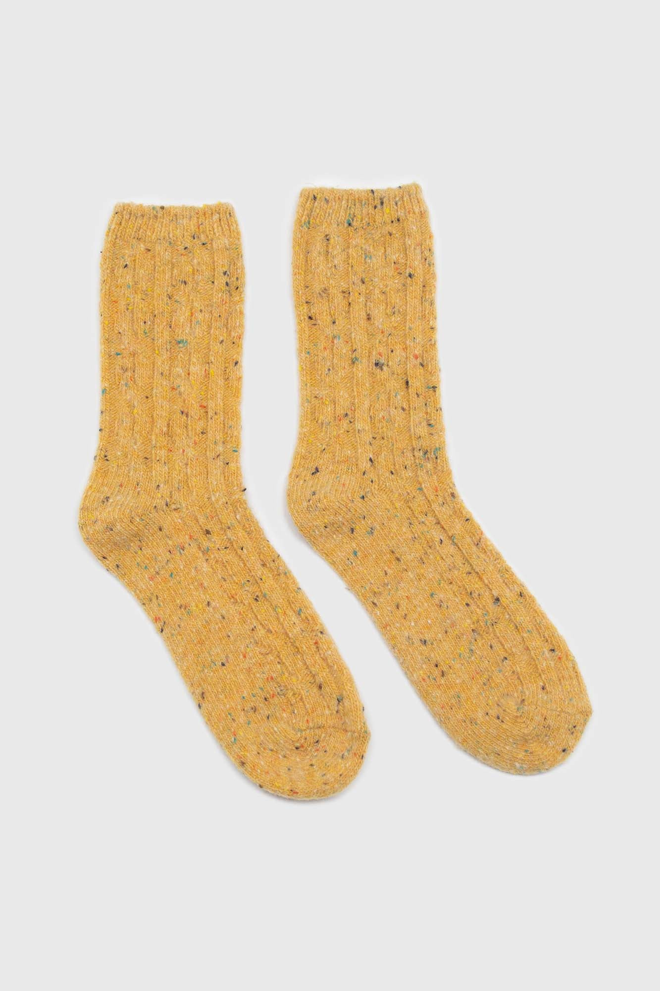 Yellow rainbow fleck thick socks3
