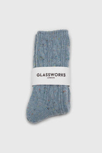 Baby blue rainbow fleck thick socks2