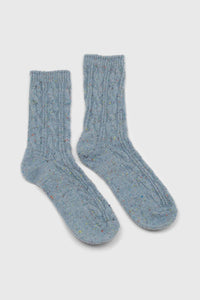 Baby blue rainbow fleck thick socks3