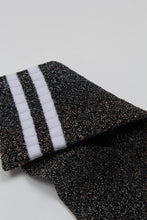 Load image into Gallery viewer, Dark silver metallic white varsity stripe socks_PFDBA1