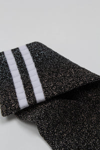 Dark silver metallic white varsity stripe socks_PFDBA1