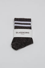Load image into Gallery viewer, Dark silver metallic white varsity stripe socks_PFFBA1