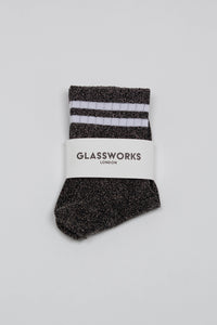 Dark silver metallic white varsity stripe socks_PFFBA1