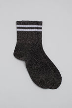 Load image into Gallery viewer, Dark silver metallic white varsity stripe socks_PFFBA2