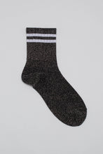Load image into Gallery viewer, Dark silver metallic white varsity stripe socks_PFFBA3