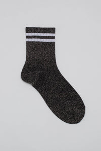 Dark silver metallic white varsity stripe socks_PFFBA3