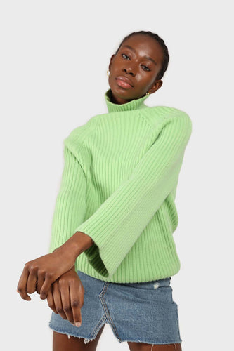 Bright green shaped thick rib turlteneck jumper1sx