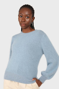 Light blue balloon sleeve angora jumper2