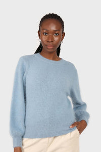 Light blue balloon sleeve angora jumper3