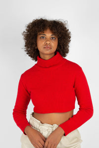 Bright red wool cropped turtleneck jumper1