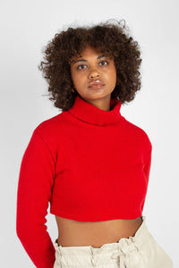 Bright red wool cropped turtleneck jumper2