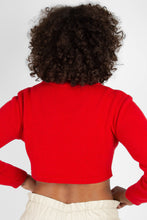 Load image into Gallery viewer, Bright red wool cropped turtleneck jumper4