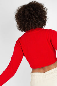 Bright red wool cropped turtleneck jumper5