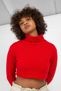 Bright red wool cropped turtleneck jumper6