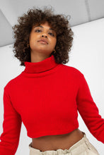 Load image into Gallery viewer, Bright red wool cropped turtleneck jumper7